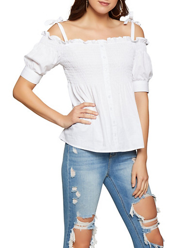 Smocked Off the Shoulder Peasant Top,WHITE,large