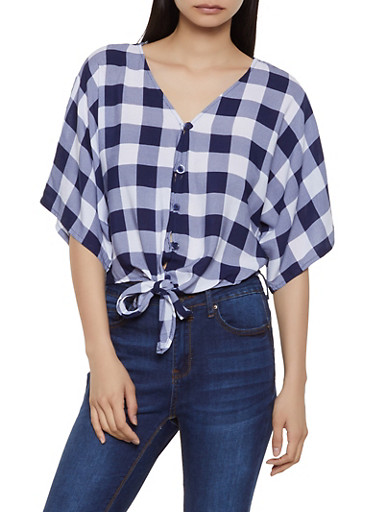 Plaid Tie Button Front Shirt | 1001038340641,NAVY,large