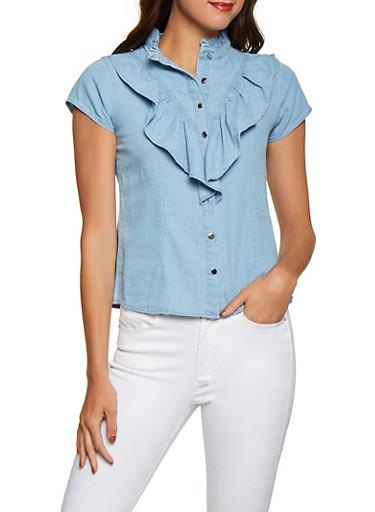 Denim Ruffle Button Front Shirt,LIGHT WASH,large