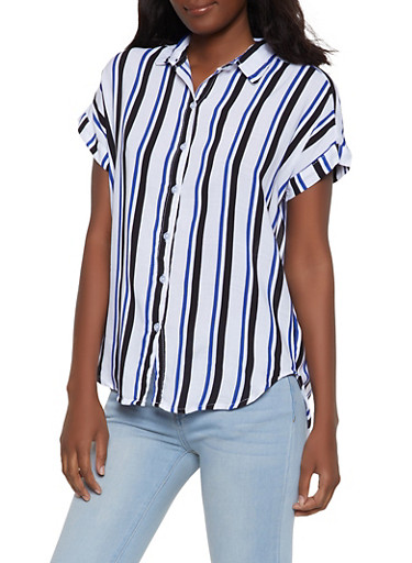 Striped Short Sleeve Shirt,BLACK,large