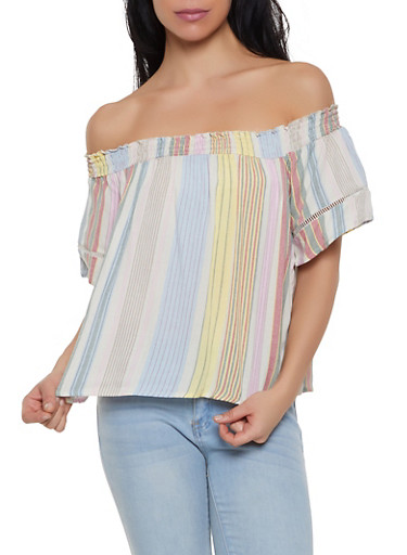 Striped Off the Shoulder Crochet Insert Top,OATMEAL,large
