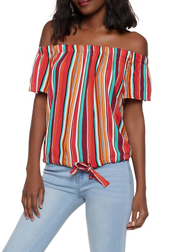 Striped Off the Shoulder Drawstring Hem Top,WINE,large