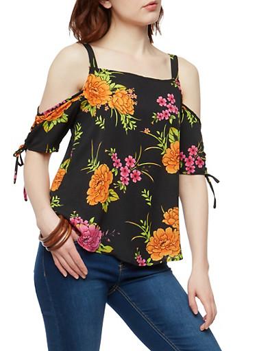 Floral Crepe Knit Cold Shoulder Top,BLACK,large