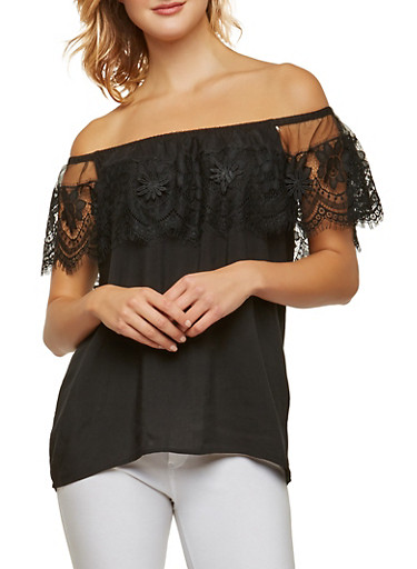 Off the Shoulder Flower Applique Top,BLACK,large