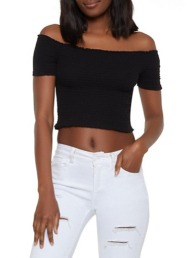 Smocked Off the Shoulder Top | 1001054260479,BLACK,large