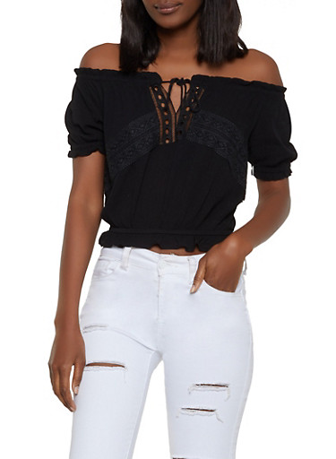 Crochet Detail Gauze Knit Off the Shoulder Top,BLACK,large