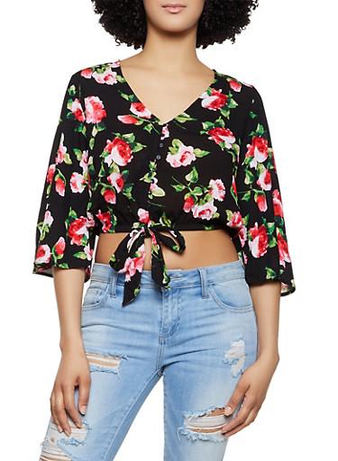 Floral Button Front Tie Front Top,BLACK,large