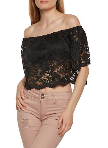 Lace Off the Shoulder Crop Top,BLACK,large