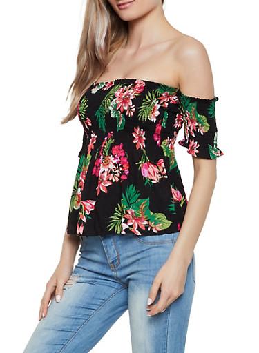 Smocked Ruffle Floral Off the Shoulder Top,BLACK,large