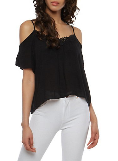 Lace Trim Cold Shoulder Top,BLACK,large