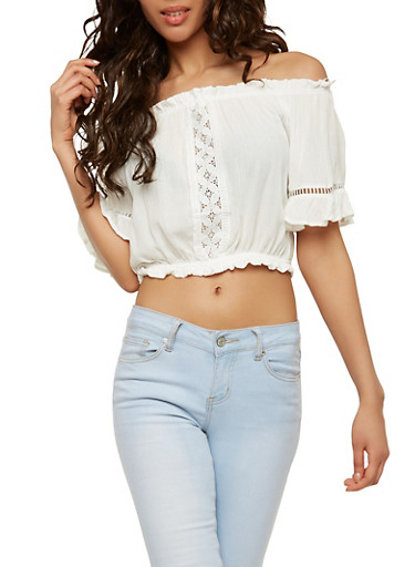 Off the Shoulder Crochet Insert Crop Top,WHITE,large