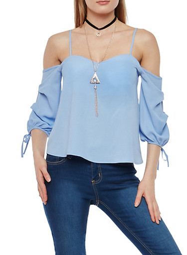 Off the Shoulder Tie Sleeve Top with Necklace,BABY BLUE,large