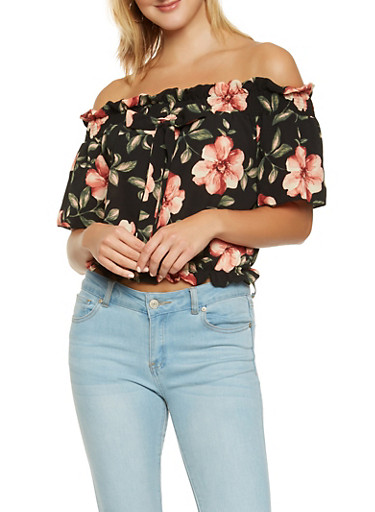 Floral Off the Shoulder Crop Top,BLACK,large