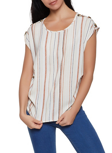 Striped Faux Button Top,KHAKI,large