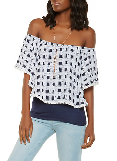Printed Off the Shoulder Overlay Top with Necklace,NAVY,large