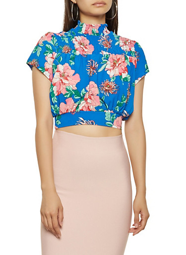 Floral Crepe Knit Cropped Blouse,RYL BLUE,large