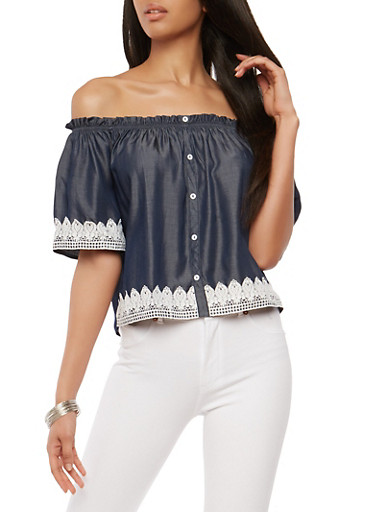 Crochet Trim Off the Shoulder Top,CHAMBRAY,large