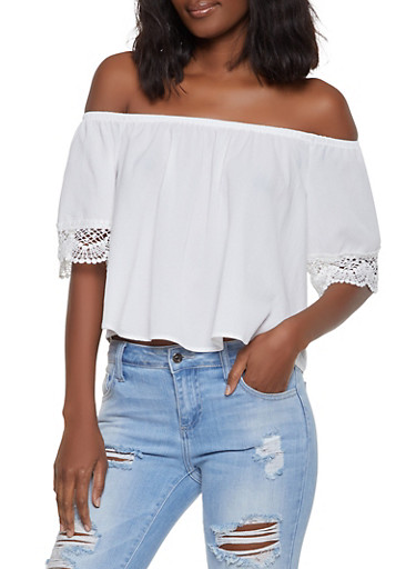 Crochet Trim Sleeve Off the Shoulder Top,WHITE,large