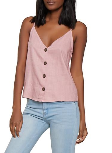 Linen Button Front Cami,MAUVE,large