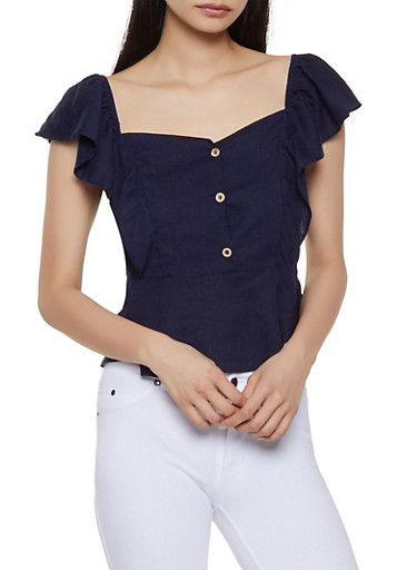 Off the Shoulder Ruffle Top,NAVY,large