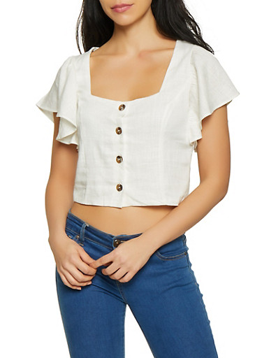 Cropped Linen Button Front Top,IVORY,large