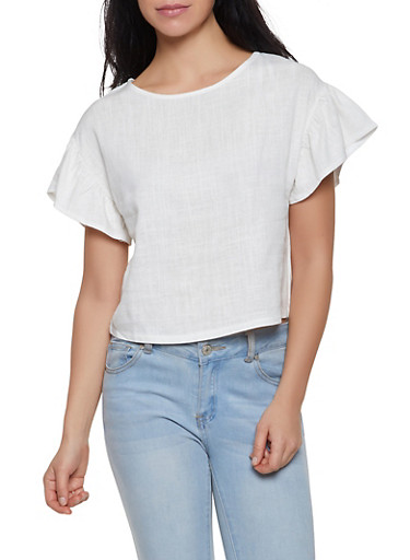 Flutter Sleeve Linen Top,IVORY,large