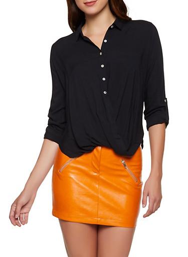 Drape Button Front Shirt,BLACK,large