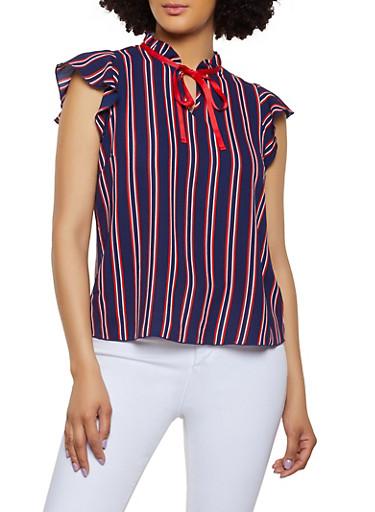 Crepe Knit Tie Neck Blouse,NAVY,large
