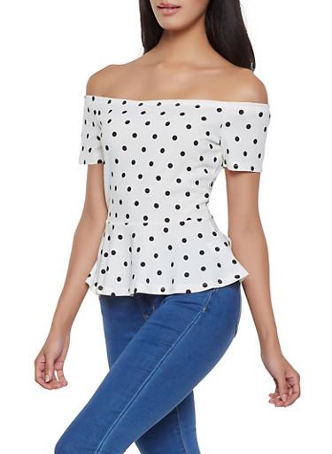 Polka Dot Off the Shoulder Peplum Top,WHT-BLK,large