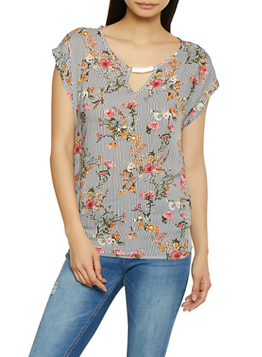 Ruched Striped Floral Top,BLACK/WHITE,large
