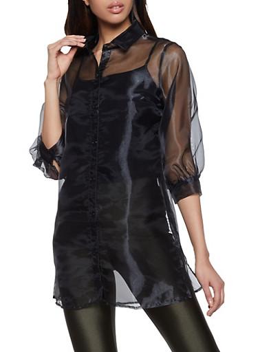 Organza Bubble Sleeve Shirt,BLACK,large