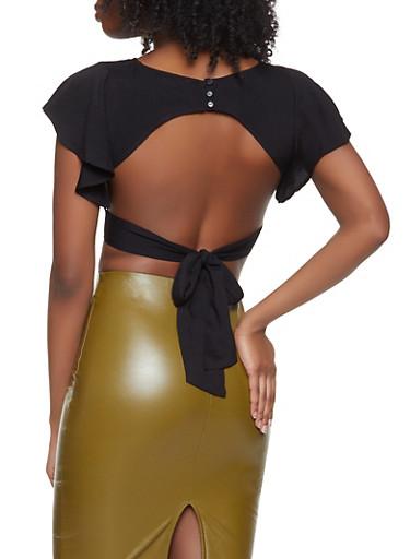 Open Back Crop Top,BLACK,large