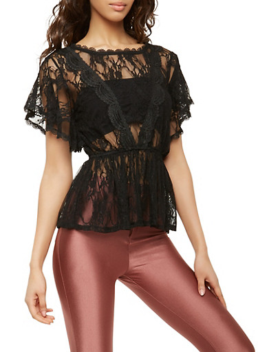 Sheer Lace Peplum Top,BLACK,large