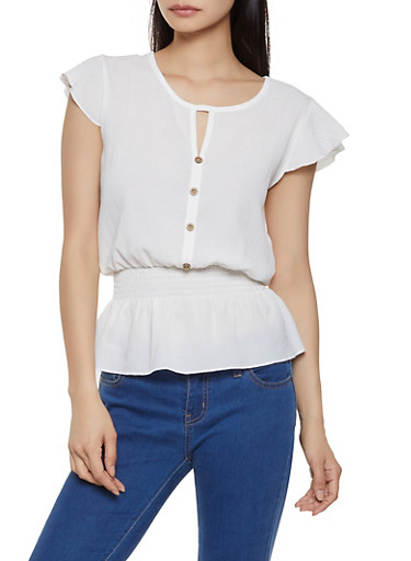 Faux Button Front Flutter Sleeve Peplum Top,IVORY,large