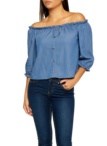 Off the Shoulder Button Detail Top,MEDIUM WASH,large