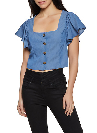 Flutter Sleeve Chambray Top,MEDIUM WASH,large