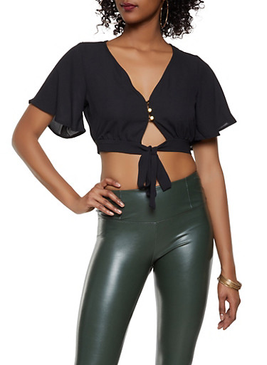 Tie Front Crop Top,BLACK,large