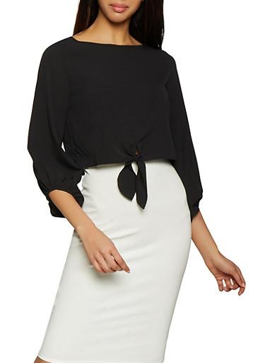 Tie Front Crepe Knit Crop Top,BLACK,large