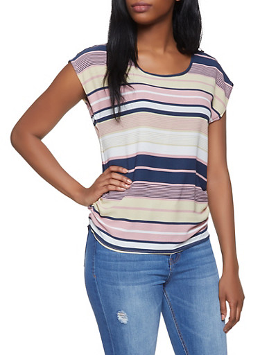 Ruched Striped Top,NAVY,large