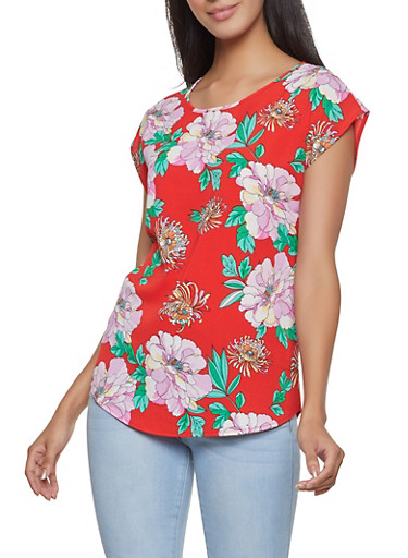 Floral Crepe Knit Top,RED,large