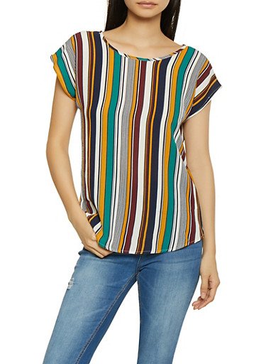 Striped Crepe Knit Top,WINE,large