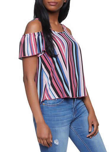 Striped Cold Shoulder Top,BLACK,large