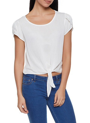 Split Sleeve Tie Front Top,WHITE,large
