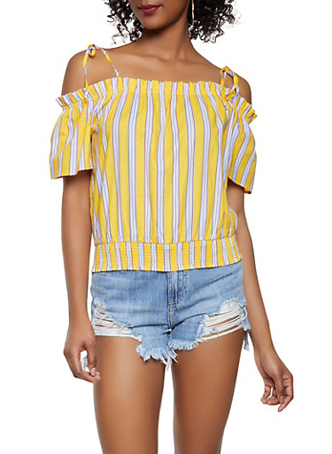 Smocked Waist Off the Shoulder Top,YELLOW,large