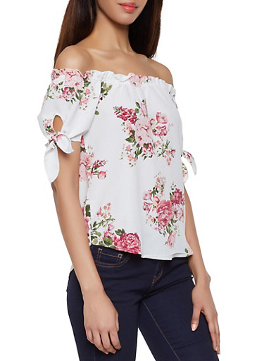 Floral Ruffle Off the Shoulder Top,IVORY,large