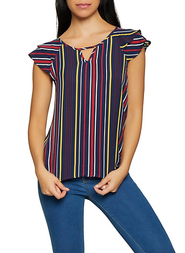 Tiered Sleeve Striped Top,NAVY,large