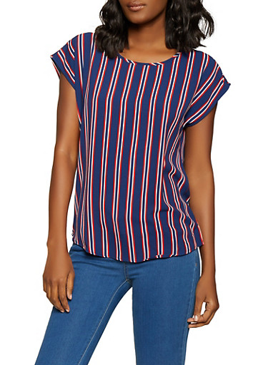 Striped Crepe Knit Top,RED,large