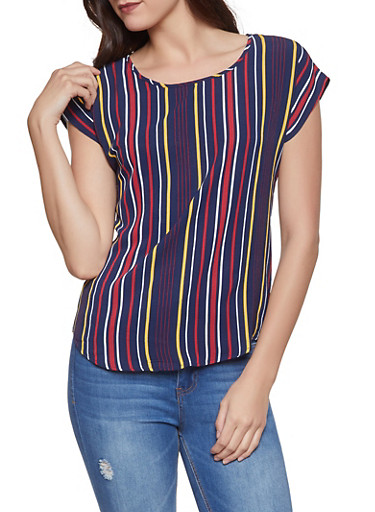 Striped Crepe Knit Tee,NAVY,large