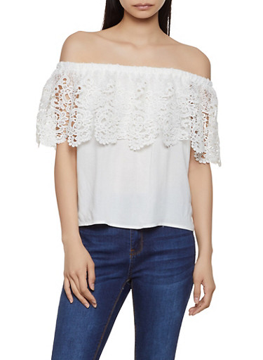 Crochet Overlay Off the Shoulder Top,IVORY,large