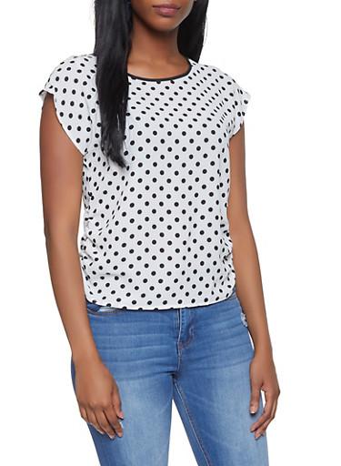 Ruched Polka Dot Top,BLACK/WHITE,large